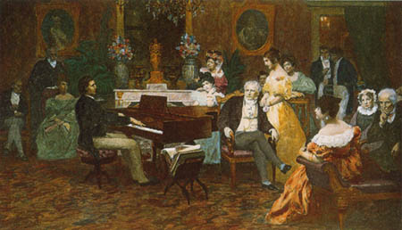 Oil by Hendryk Siemiradzki (1887), depicting the Polish composer Frédéric Chopin playing his works before the aristocratic Polish family Radziwiłłs in 1829.