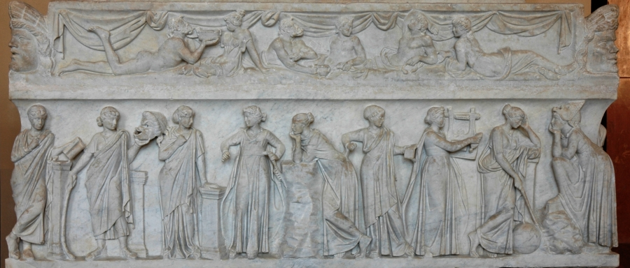 "Sarcophagus known as the ""Muses Sarcophagus"", representing the nine Muses and their attributes. Marble, first half of the 2nd century AD, found by the Via Ostiense."