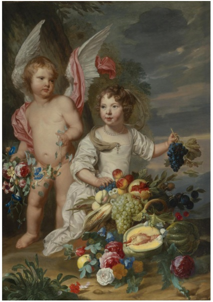 Theodoor_van_Thulden_and_Alexander_Coosemans_-_Double_Portrait_of_a_girl_and_a_girl_as_Cupid_and_Ceres_next_to_a_Stil_life_of_fruits_and_flowers