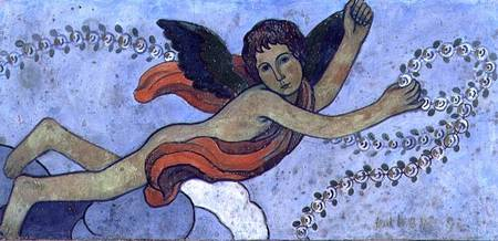 EDI81383 The Guardian Angel with a Garland, 1892 (gouache on plaster) by Filiger, Charles (1863-1928) gouache on plaster 36x71 Private Collection French, out of copyright