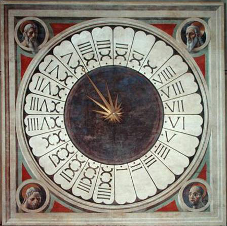 ALG181541 Canonical clock with the heads of four prophets, completed 1443 (fresco) by Uccello, Paolo (1397-1475) fresco 470x470 Duomo, Florence, Italy Alinari Italian, out of copyright